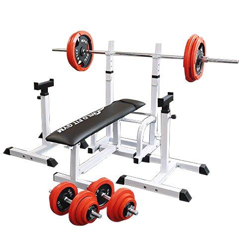 [スクワットパッド付]フォールディングジムセット 赤ラバー100kg[WILD FIT ワイルドフィット] 送料無料 バーベル ダンベル ベンチプレス トレーニング器具 大胸筋 腹筋 上腕筋