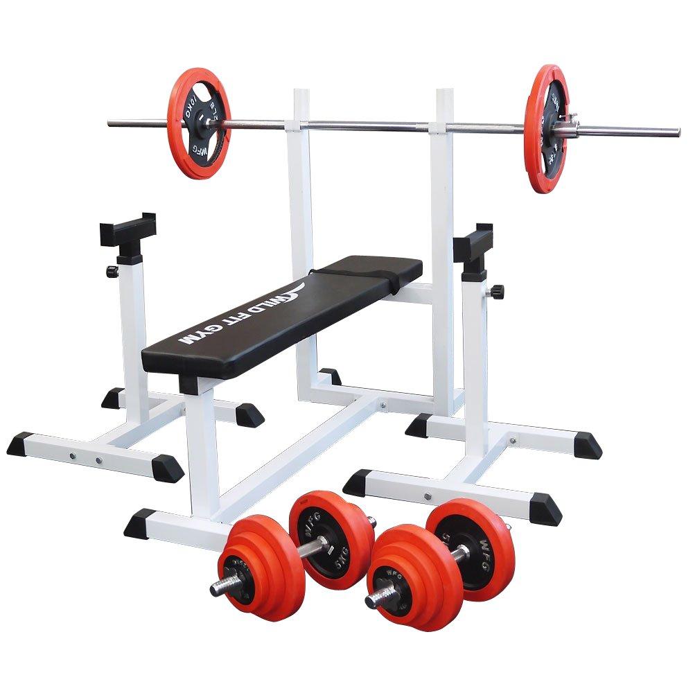 トレーニングジムセット 赤ラバー70kg[WILD FIT ワイルドフィット] 送料無料 バーベル ダンベル ベンチプレス トレーニング器具 フィットネス 大胸筋 腹筋 上腕筋