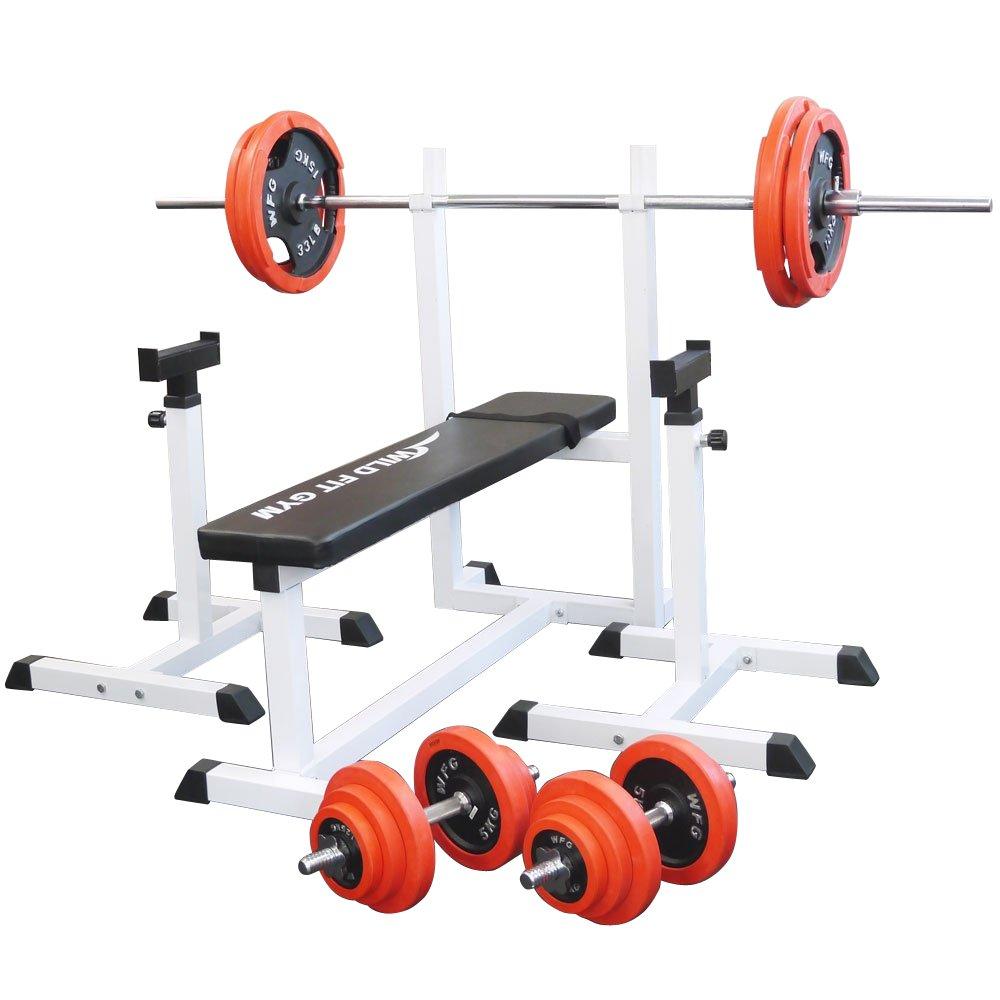 [スクワットパッド付]トレーニングジムセット 赤ラバー100kg[WILD FIT ワイルドフィット] 送料無料 バーベル ダンベル ベンチプレス トレーニング器具 フィットネス 大胸筋 腹筋 上腕筋