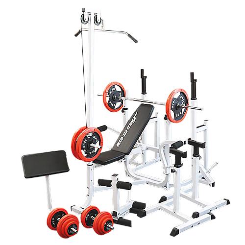 マルチフルセット 赤ラバ-100kg[WILD FIT ワイルドフィット] 送料無料 バーベル ベンチプレス トレーニング器具 スクワット 大胸筋 腹筋