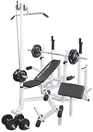 マルチトレーニングジムセット 黒ラバー70kg[WILD FIT ワイルドフィット] 送料無料 バーベル ベンチプレス トレーニング ウエイト プレート スクワット 大胸筋 腹筋