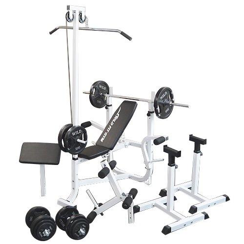 マルチセーフティージムセット 黒ラバー100kg[WILD FIT ワイルドフィット] 送料無料 バーベル ベンチプレス トレーニング器具 スクワット 大胸筋 腹筋