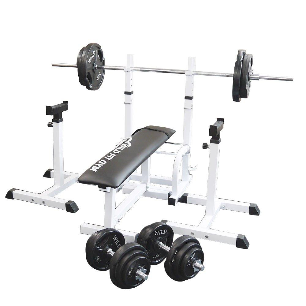 フォールディングジムセット 黒ラバー100kg[WILD FIT ワイルドフィット] 送料無料 バーベル ダンベル ベンチプレス トレーニング器具 大胸筋 腹筋 上腕筋