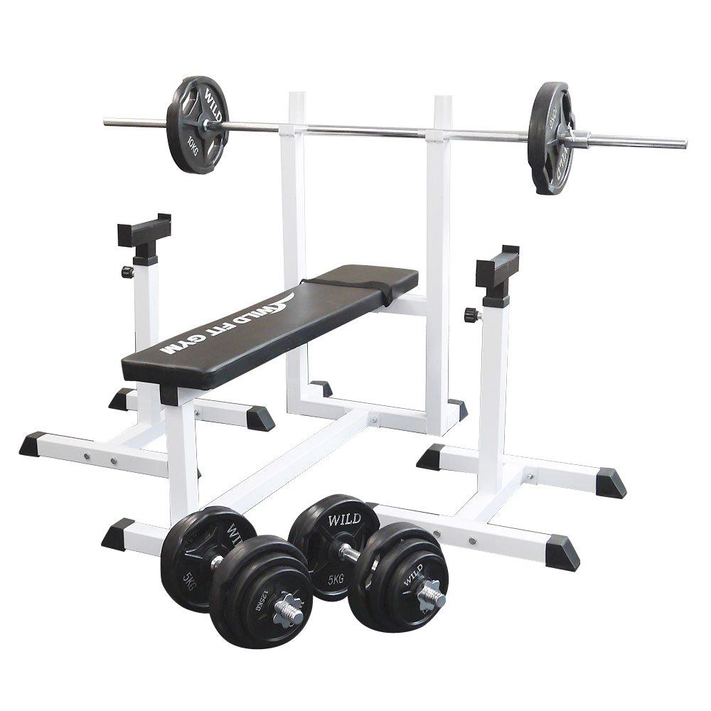 トレーニングジムセット 黒ラバー70kg[WILD FIT ワイルドフィット] 送料無料 バーベル ダンベル ベンチプレス トレーニング器具 フィットネス 大胸筋 腹筋 上腕筋