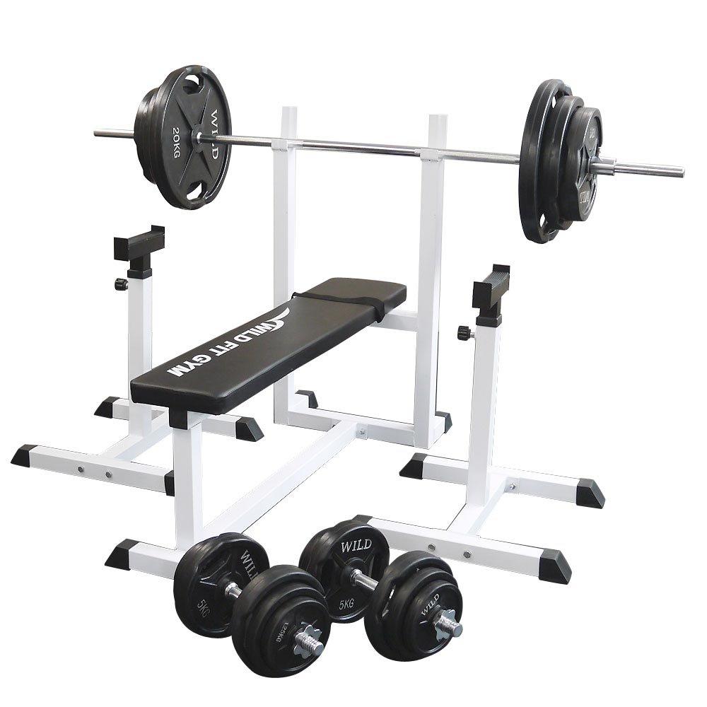 [スクワットパッド付]トレーニングジムセット 黒ラバー140kg[WILD FIT ワイルドフィット] 送料無料 バーベル ダンベル ベンチプレス トレーニング器具 フィットネス 大胸筋 腹筋 上腕筋