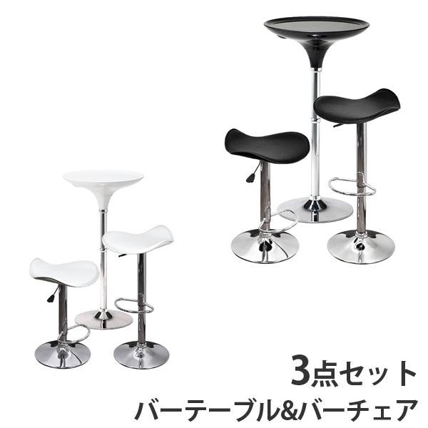 [バーテーブルとカウンターチェアの3点セット] バーテーブル天板60cm レザーバーチェア2脚