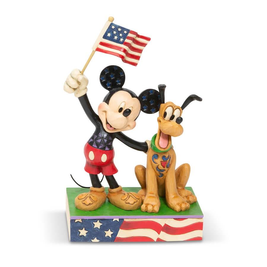 クリスマス ミッキーとプルート アメリカンフラッグ 17.8cm | ディズニー フィギュア 大人向け 人形 置物 ジムショア グッズ Mickey and Pluto Patriotic ジム・ショア ディズニー トラディションズ JIM SHOREJIM SHORE DISNEY TRADITIONS 正規輸入品
