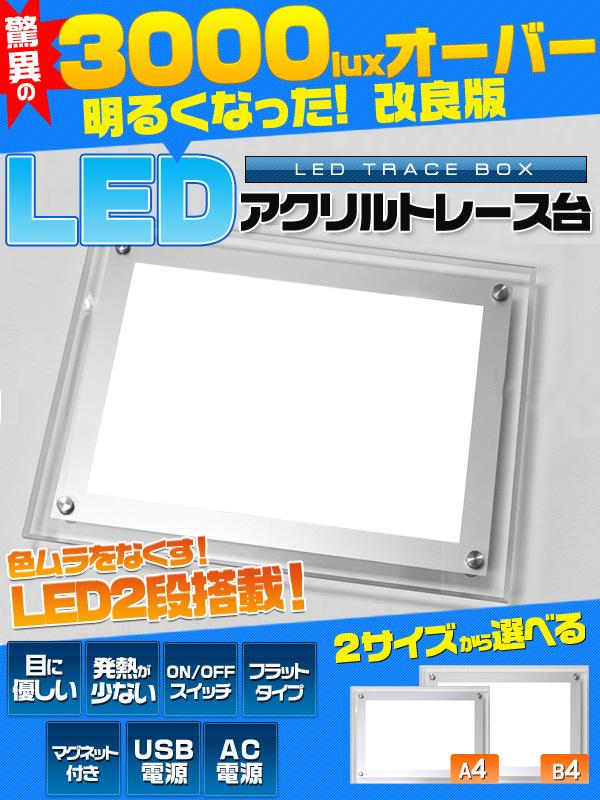 【送料無料】LEDトレース台 B4サイズ(ライトボックス) 目に優しい×照度3000luxオーバーを実現!USBでもコンセントでも使用可能!目にもお財布にも優しいLEDライトタイプ/ポジフィルムの確認や、ディスプレイとしても