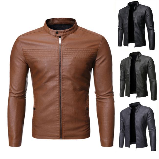 メンズ ライダースジャケット 立ち襟 バイクウェア レザージャケット 革ジャン オートバイ アウター 秋冬 カジュアル