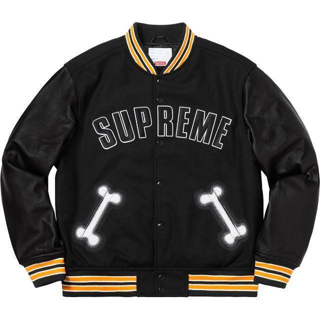 【Supreme】シュプリーム 国内正規 Bone Varsity Jacket Black スタジャン ジャケット ブラック Lサイズ 2018AW