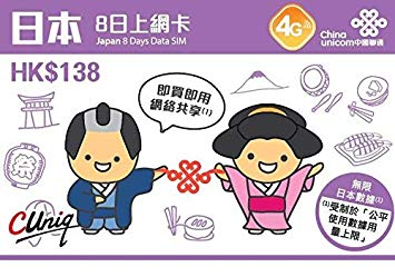 日本8日間データ+香港通話SIMカード