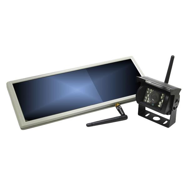 ワイヤレス内蔵12V/24V 7インチバックミラー+暗視バックカメラ