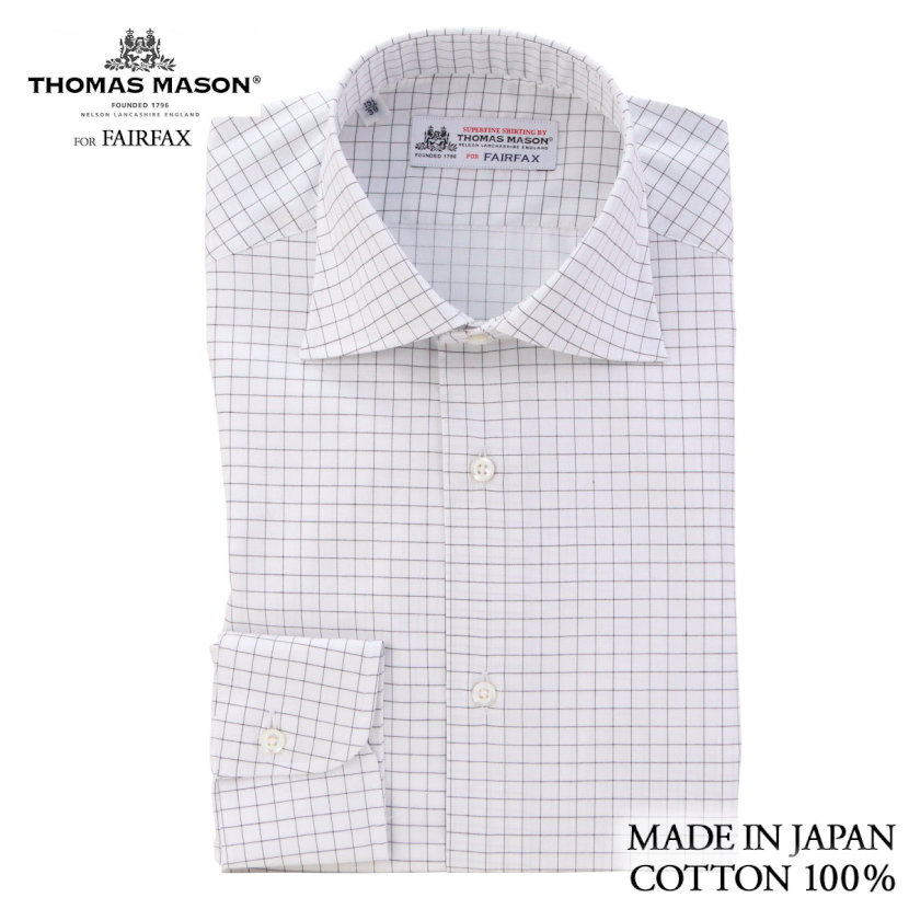 (フェアファクス) FAIRFAX ドレスシャツ ワイドカラー 白地に黒のグラフチェック 綿100% (細身) 英国 トーマス・メイソン生地使用 ( 送料無料 )