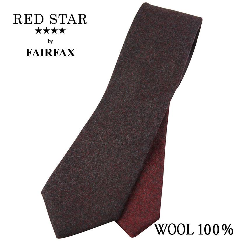 (フェアファクス) FAIRFAX ウールソリッドのクレリックタイ ワイン系 ウール100% ネクタイ イタリー生地使用( 送料無料 )