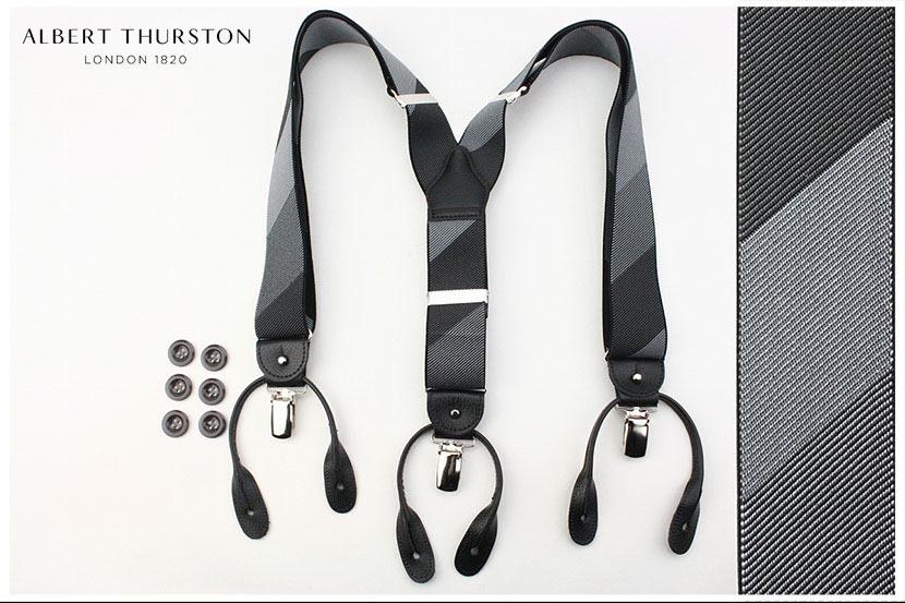 (アルバート・サーストン) ALBERT THURSTON メンズ ブレイシス 英国製 モノトーンのグラデーションストライプ サスペンダー( 送料無料 )