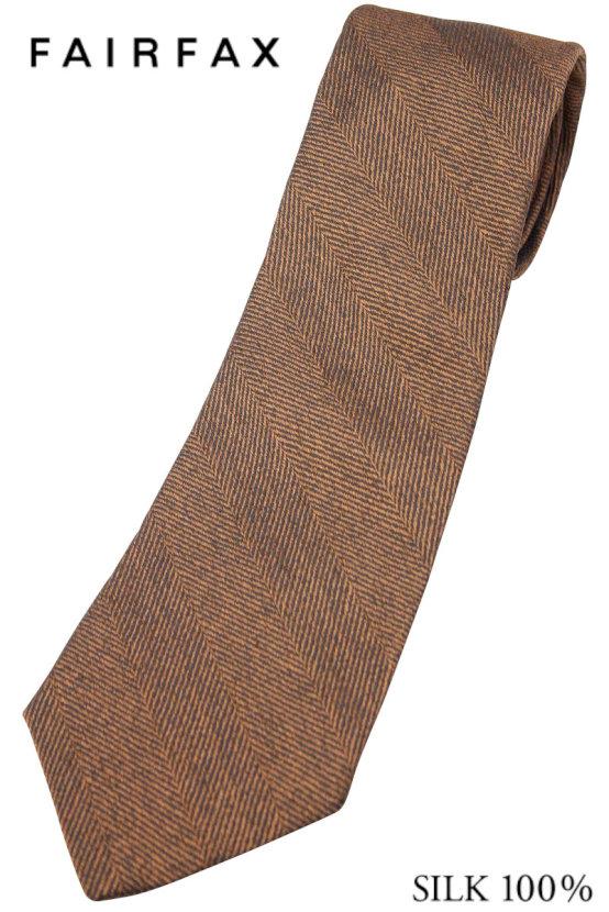 (フェアファクス) FAIRFAX ヘリンボーンのメランジソリッドタイ ブラウン系 シルク100% イタリー生地使用 無地ネクタイ 日本製( 送料無料 )