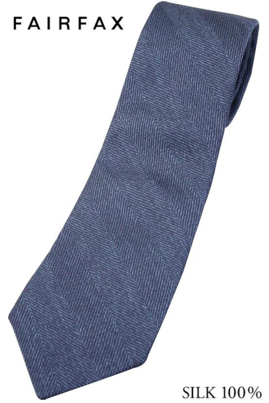 (フェアファクス) FAIRFAX ヘリンボーンのメランジソリッドタイ グレイッシュブルー系 シルク100% イタリー生地使用 無地ネクタイ 日本製( 送料無料 )