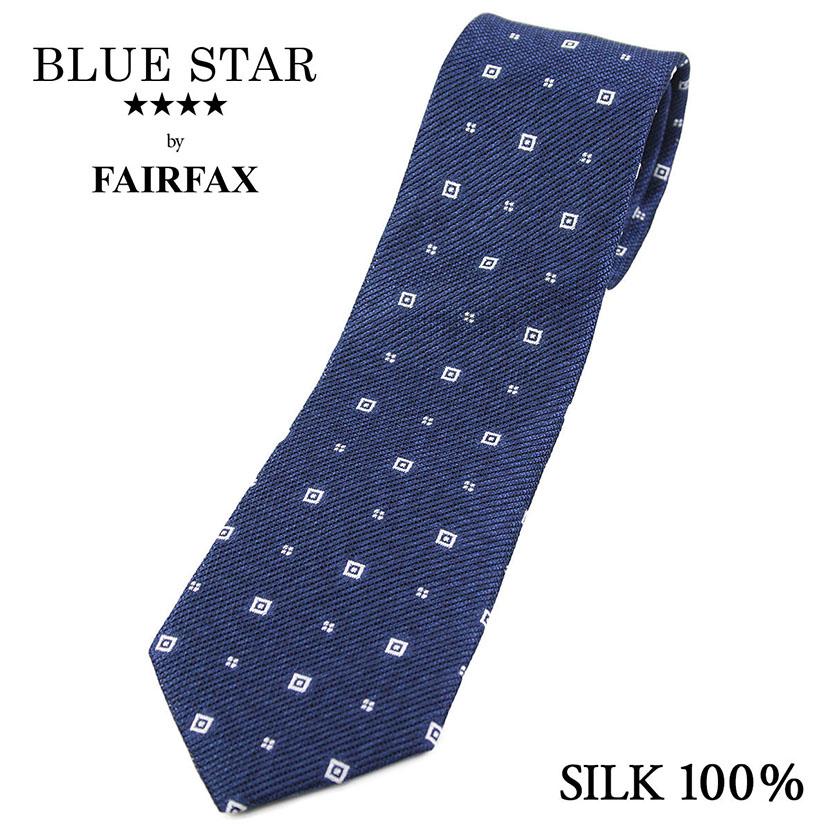 (フェアファクス) FAIRFAX メランジのフレスコ織り 小紋柄ネクタイ 浅いネイビー系 シルク100% ジャカードタイ 日本製( 送料無料 )