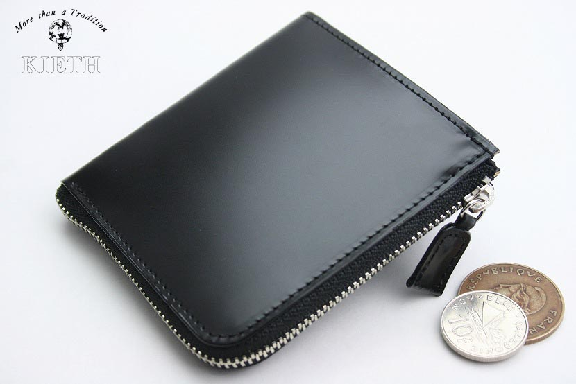 (キース) KIETH コードバンのL字ファスナーのコインケース ブラック 日本製 馬革 本革 メンズ 財布 小銭入れ( 送料無料 )