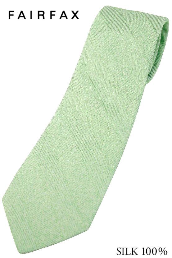 (フェアファクス) FAIRFAX ヘリンボーンのメランジソリッドタイ スプリンググリーン系 シルク100% イタリー生地使用 無地ネクタイ 日本製( 送料無料 )