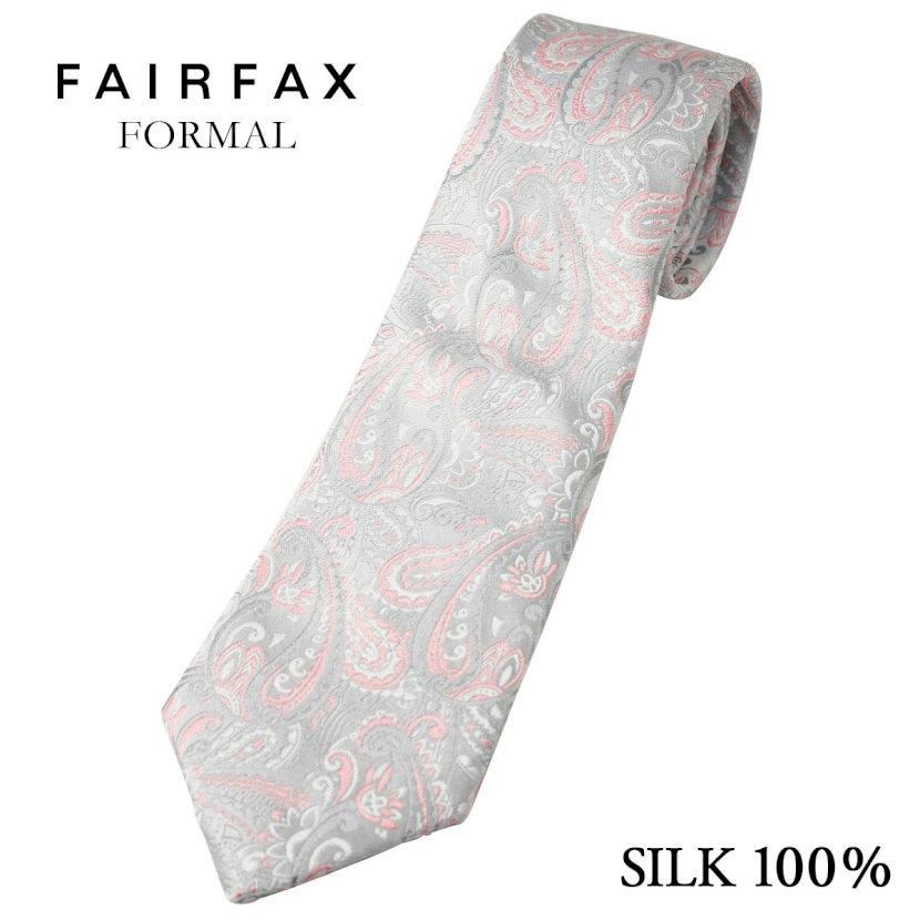 (フェアファクス) FAIRFAX ペイズリー柄のフォーマルタイ シルバー系&ピンク 英国 バーナーズ社生地 礼装 ネクタイ 日本製( 送料無料 )