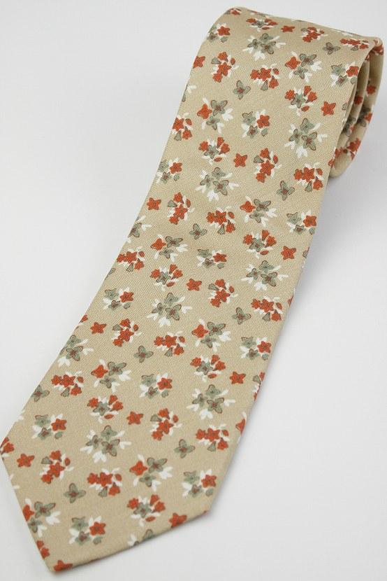 (フェアファクス) FAIRFAX 花柄のマダープリント風ネクタイ ベージュ系 シルク100% イタリアFossatiの生地使用 日本製( 送料無料 )