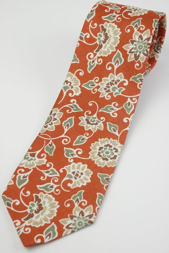 (フェアファクス) FAIRFAX 花柄のマダープリント風ネクタイ オレンジ系 シルク100% イタリアFossatiの生地使用 日本製( 送料無料 )