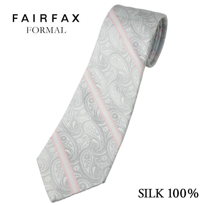 (フェアファクス) FAIRFAX ペイズリー&ストライプ柄のフォーマルタイ シルバー&ピンク 英国 バーナーズ社生地 礼装 ネクタイ 日本製( 送料無料 )