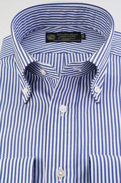 (ウィンザーノット アルバートアベニュー) Windsorknot Albert Avenue 120双 ロンドンストライプ ボタンダウン ドレスシャツ 日本製 綿100% ブロード ( 送料無料 )