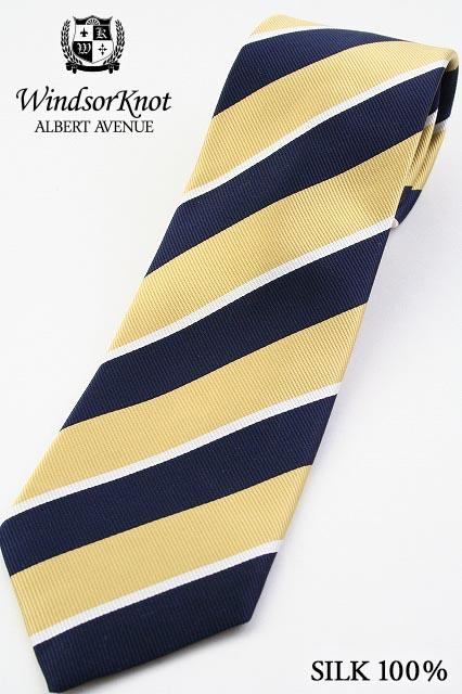 イエロー&ネイビー&オフホワイト (ウィンザーノット アルバートアベニュー) ネクタイ レップ織 ストライプ Yellow&RoyalNavy&Frosty プレーン&ホワイトライニング ( 送料無料 ) Windsorknot Albert Avenue George3