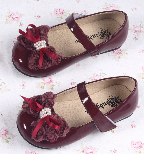 formal shoes wine red four circle shoes