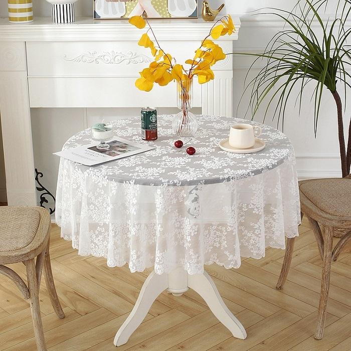 テーブルクロス レース 円形 直径約180cmテーブルマット ラウンドクロス 食卓 マット まとめ買い特価 花 敷物 雑貨食卓 かわいいテーブルマット 送料無料 直径約180cm 水洗い可 おしゃれ 最安値挑戦 ホワイト 雑貨 北欧