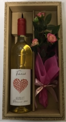 ハートの花びらという名のドイツワイン ワインの贈り物 かわいいお花を添えて ヘルツブラット 白:やや辛口 日本製 送料無料 一部除く 楽ギフ_のし ドイツワイン 誕生日 ワイン ギフト セール特価 お祝い 白 母の日