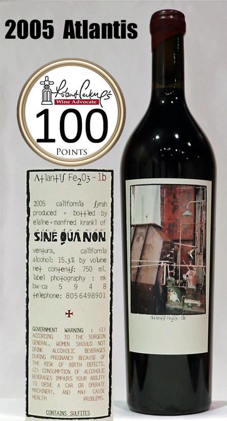アトランティス シラー シネクアノン[2005]sine qua non atlantis fe2o3-1b syrah シンクワノン