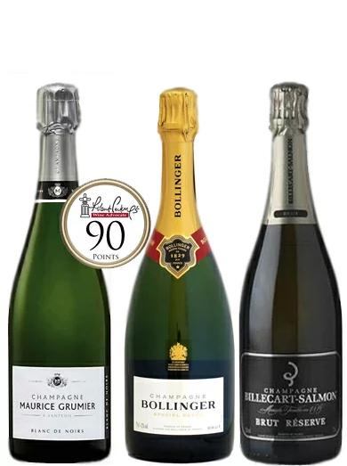 高得点 3本セット シャンパーニュ モーリス グルミエ ボランジェ ビルカールサルモン BRUTMAURICE GRUMIER BLANC DE NOIRS BRUT BOLLINGER SPECIAL CUVEE BRUT  BILLECART-SALMON BRUT RESERVE Champagne シャンパーニュ