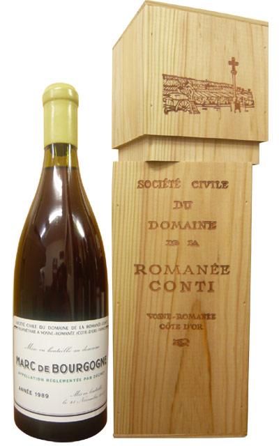 【箱無し】ドメーヌ・ド・ラ・ロマネ・コンティ・マール・ド・ブルゴーニュ[1989]年(2007年11月21日瓶詰)・超豪華木箱入(ロウ封印キャップ) ハードリカーMarc de Bourgogne [1989] Mis en Bouteille Le 21 Novenber 2007 Domaine de La Romanee-Conti