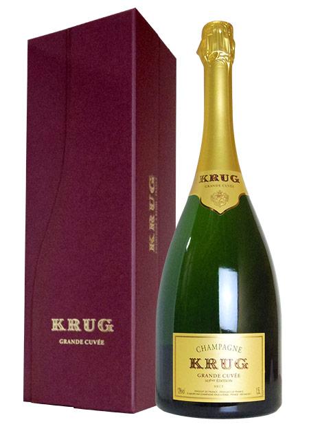 【大型ボトル 豪華ギフト箱入】クリュッグ シャンパーニュ グラン キュヴェ ブリュット (エディション163) AOCシャンパーニュ 大型マグナムサイズ (1,500ml) 豪華ギフト箱入 正規代理店輸入品(正規品) 1.5L KRUG Champagne Grande Cuvee Brut