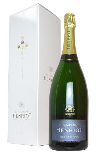 【箱入】【大型ボトル】アンリオ シャンパーニュ ブリュット スーヴェラン マグナムサイズ フランス AOCシャンパーニュ ギフト箱付 正規 白 辛口 泡 シャンパン 1500ml 1.5L (アンリオ・シャンパーニュ・ブリュット・スーヴェラン)HENRIOT Champagne Brut Souverain