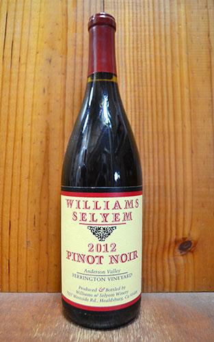 ウイリアムズ セリエム フェリントン ヴィンヤード ピノ ノワール 2012 アンダーソン ヴァレー アメリカ カリフォルニア 正規 赤ワイン ワイン 辛口 フルボディ 750mlWilliams Selyem FERRINGTON VINEYARD Pinot Noir [2012]