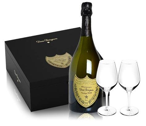 【箱入】ドン ペリニョン(ペリニヨン) 2008年&オリジナルグラス(ドンペリ ロゴ入りオリジナル シャンパングラス)2脚付き モエ エ シャンドン社 AOCシャンパーニュ 正規代理店輸入品Dom Perignon 2008 2 Flute Glasses Set DX Gift Box AOC Millesime Champagne