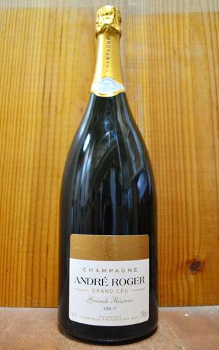 """大型マグナムボトル・アンドレ・ロジェ・グラン・クリュ・特級・ブリュット""""グラン・レゼルヴ""""限定輸入品・大型マグナムサイズ・R.M(生産者元詰)・蔵出し・AOCシャンパーニュANDRE ROGER Champagne Grand Cru """"Grande Reserve"""" Brut M.G AOC (Grand Cru)Champagne"""