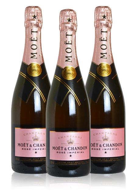 【送料無料・3本セット】モエ エ シャンドン ブリュット アンペリアル ロゼ N.V 正規 箱なし 750ml×3 シャンパン シャンパーニュ