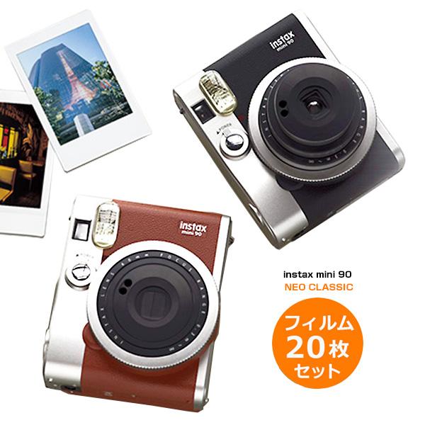 チェキ mini 90 ネオクラシック 本体 フィルム20枚 セット 富士フィルム インスタントカメラ