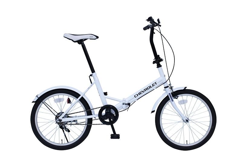 【送料無料】【受発注品】ミムゴ CHEVROLET シボレー FDB20E ホワイト MG-CV20E 20インチ 折りたたみ自転車