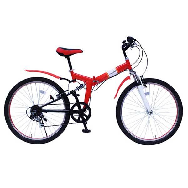 【送料無料】ミムゴ 26インチ 折りたたみ自転車 FIELD CHAMP Wサス FD-MTB266SE レッド MG-FCP266E【受発注品】【代引不可】