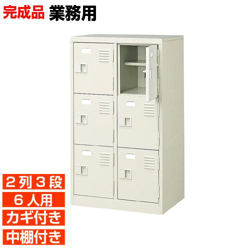 【期間限定ポイント3倍】 日本製 扉付鍵付下駄箱 中棚付 2列3段 6人用