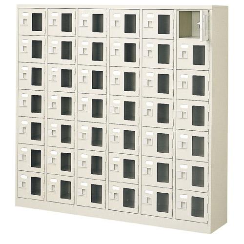 42人用 窓付下駄箱 業務用下足入れ鍵付・中棚無 6列7段