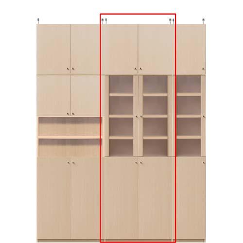 薄型木製本棚高さ226~235cm幅45~59cm奥行19cm厚棚板(棚板厚み2.5cm) 本体棚扉サイズ:全面扉(上部半透明)(高さ=ラック高さ178cm+突張棚高さ41cm+伸縮突張金具)半透明両開き扉薄型木製本棚