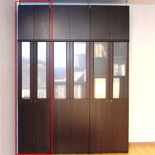 ファイル収納木製ラック高さ250~259cm幅71~80cm奥行31cm厚棚板(棚板厚2.5cm) 本体棚扉サイズ:全面扉(上部半透明)(高さ=ラック高さ178cm+突張棚高さ65cm+伸縮突張金具)半透明両開き扉ファイル収納木製ラック