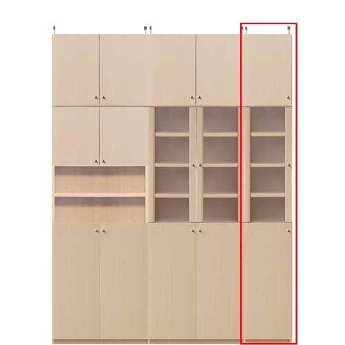 リビング収納スリム本棚高さ250~259cm幅15~24cm奥行31cm厚棚板(耐荷重30Kg) 本体棚扉サイズ:全面扉(上部半透明)(高さ=ラック高さ178cm+突張棚高さ65cm+伸縮突張金具)半透明片開き扉リビング収納スリム本棚